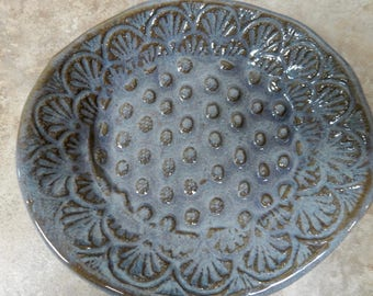 Pottery soap dish made of stoneware clay…..organic in nature…...rustic with a desert lavender  glaze..*