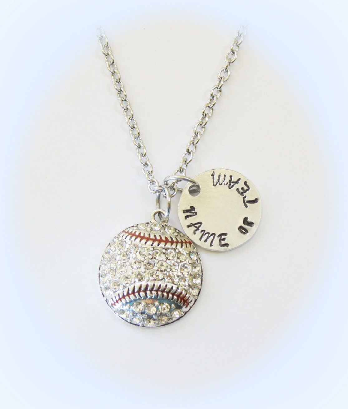 with hand a designmejewelry necklace personalized softball custom buy to by numbe made baseball