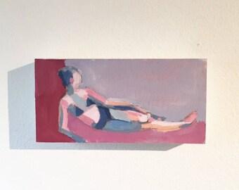 "Originial Painting - Mini Sunbather Number One  - 4x8"""
