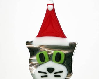 Glassworks Northwest - Grey Tabby Cat w/ White Cheeks and Santa Hat - Fused Glass Ornament