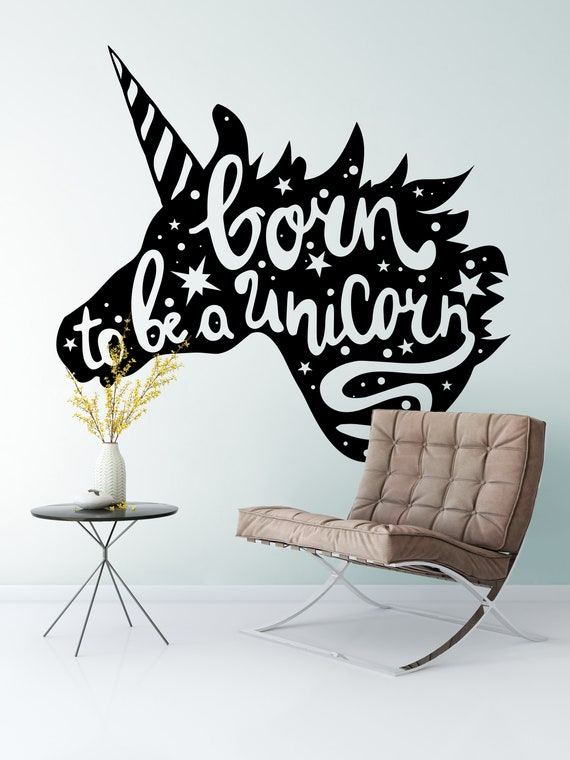 Born to be a unicorn, Vinyl Wall Decal, Magical minds collection, Magic Horse, Power, Spirituality, Divine Consciousness