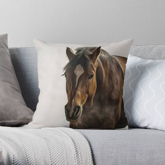 pillow barn horse cover painted c products pottery