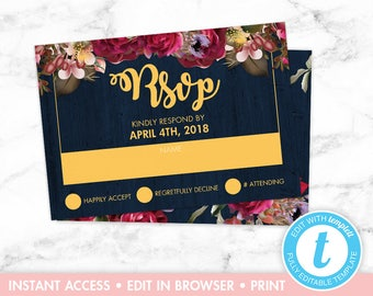 Navy and Burgundy Floral Wedding RSVP Card