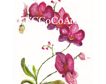 Original Watercolour Hand Painted Purple Pink Orchids Floral Flower (Digital Image available)