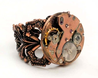Steampunk Antique Rose Gold Watch Movement Adjustable Copper Ring
