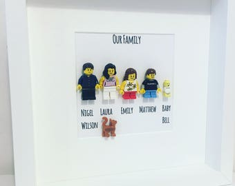 Fathers Day Lego Family Gift Frame. Valentines Personalised. Mummy, Daddy Baby, Pets, Dog, Cat, Lego mini figure Family Frame.