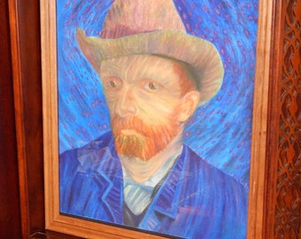 Framed Original Craypas Drawing of Vincent Van Gogh