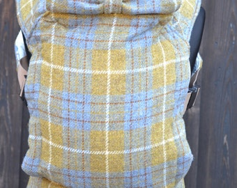 Tweed Baby Carrier - Blue and Mustard