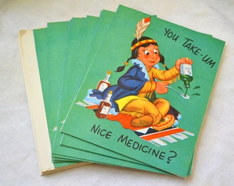 1950s NOS Native American Get Well Card with Envelope