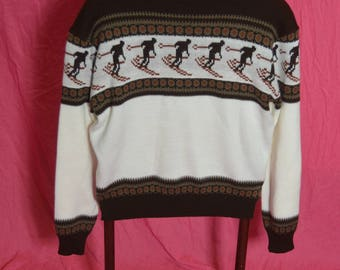 "Vintage Mens "" Elite "" Nordic Style Picture Knit Ski Pullover Sweater"