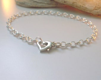 Silver Bracelet Heart Clasp, Silver Bracelet Women, Charm Bracelet for girls, Bridesmaid Bracelet, Sterling Silver Chain, gift for women