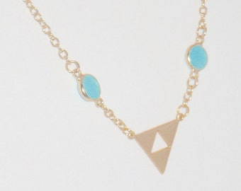 Long Gold Chain and Chalcedony Gemstone Pendant Necklace