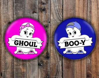 Boo-y or Ghoul halloween gender reveal pins, pink and blue.