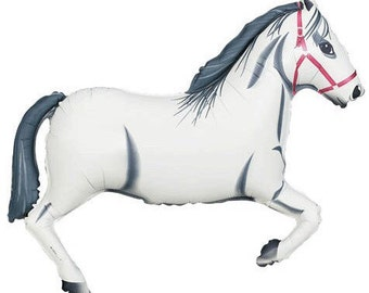"White Horse Balloon 43"" Large Barnyard Ranch Party Helium Air Mylar"