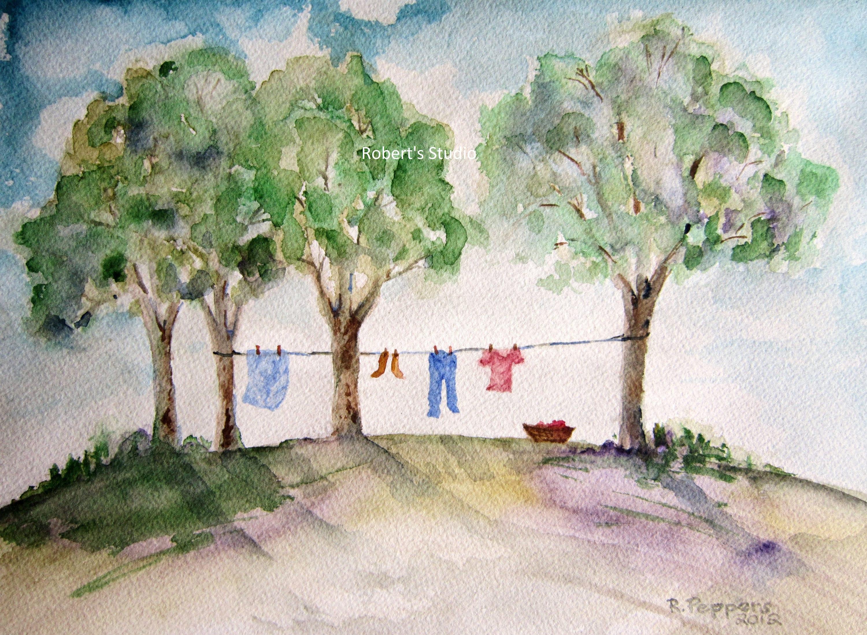 Laundry Day Print of original watercolor painting watercolor