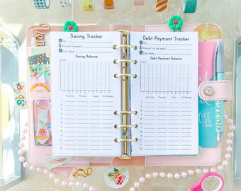 Saving Tracker Personal Filofax Inserts Debt Payment Budget Planner Financial Planner Debt Pay Off Filofax Personal Refill PDF Download