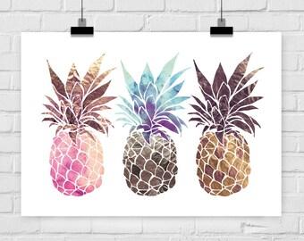 Kunstdruck Ananas Trio