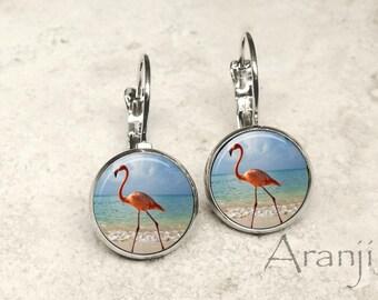Glass dome flamingo earrings, flamingo earrings, flamingo earrings, Florida earrings, beach earrings AN122LB