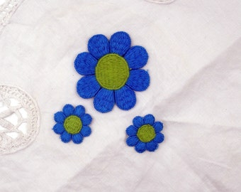 Vintage Flower Appliques-Blue Daisies- Set of Three