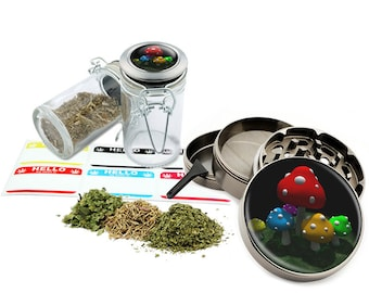 "Mushrooms - 2.5"" Zinc Alloy Grinder & 75ml Locking Top Glass Jar Combo Gift Set Item # G50-102615-1"