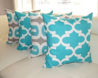Embrace Ocean and Fynn Aqua Ocean Moroccan Outdoor Throw Pillow - Set of 4 - Free Shipping