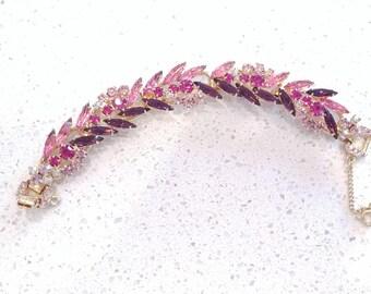 Vintage Juliana (DeLizza & Elster) Navette Bracelet - Pink and Purple