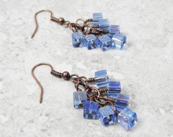 Glass Bead Earrings. Shaggy Earrings. Cluster Earrings. Antiqued Copper Plated Earrings. Blue Earrings.  OOAK