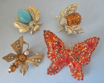 Vintage Rhinestone Brooches DeStash butterflies and bees