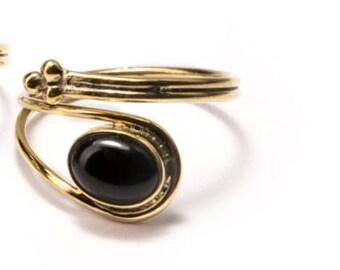 Adjustable Gemstone Rings Brass, black Onyx Gemstone (BO1) Handmade, Boho Rings, Tribal Jewellery Gift Boxed + Gift Bag , Free UK Delivery