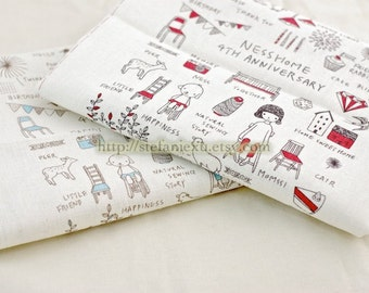 Linen Cotton Blended Fabric-Sweet Home Sewing Zakka (4 Cuts)