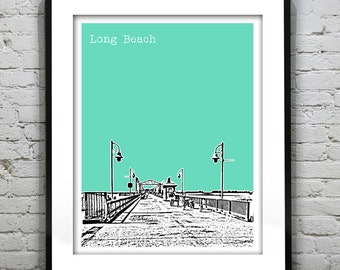 Etsy Birthday 20% Off Sale - Long Beach California Poster Art Skyline Print Queen Mary Version 4