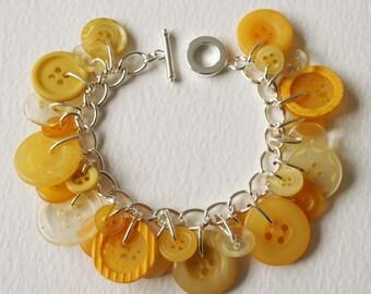 Button Bracelet Lemon Yellow Pastel Mix