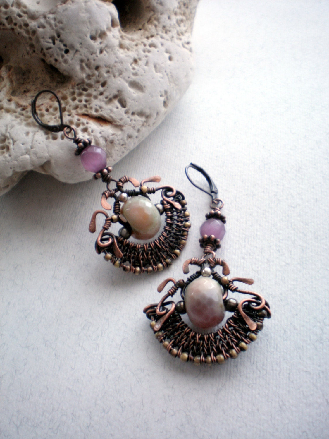 Blush copper earrings Handmade copper wire earrings with