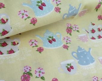 1/2 yard Lecien Japan High Tea Collection by Jera Brandvig Collection | Butter Cream Tea For Two | # 31388L-50