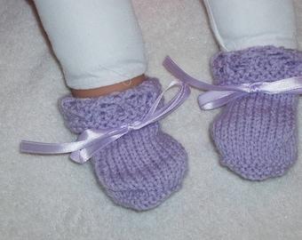 Purple baby booties