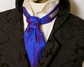 Blue Raspberry Pure Dupioni Silk - Ascot Tie Cravat Necktie Neckwear