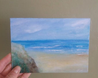 ORIGINAL Abstract Acrylic Painting on Canvas, Seascape, Sea, Sky, Beach, Clouds,Blue