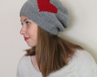 WINTER GRAY BEANIE... Valentines gift. Heart gray hat, chunky gray hat, gray tam women, knitting hat, wool  hat, ready to shipping.