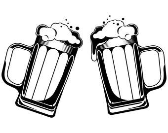 Beer mug SVG, Beer SVG, Beer mug,Mugs, Beer, Mug silhouette,Set of two,Alcohol,Mug vector,Glass,Silhouette,SVG,Graphics,Illustration,Logo