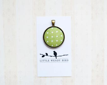 Green Polka Dot Fabric Covered Button Pendant