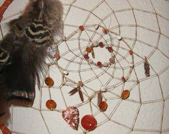 Carnelian Dreamcatcher, dripping with  gemstones,moonstones,opals,owl charms,Native American inspired,made in America