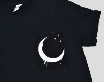 Pastel Goth Gothic Grunge Halloween Crescent Half Moon Patch Unisex T-shirt Space Hipster Indie Alien Mens Womens Kawaii Lunar Moon Clothing