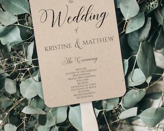Wedding Program Fan Template, Printable Wedding Program Template, Rustic Wedding Fan Program, Ceremony Program Fan, Vintage Program, 0074