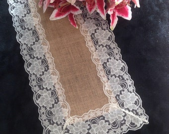 """Burlap Lace Table Runner, IVORY Lace - Rustic Wedding Table Runner - 12"""" Width; Lace on ALL Edges - Country Home Decor, Farmhouse Decor"""