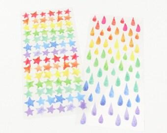 Colorful Stars/Rain Drops Stickers