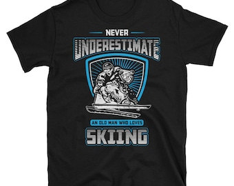 Skiing T-shirt, Great gift For The Man in Your Life , Gift for funny dad, black tshirt skiing gift,skiing shirt,winter olympics skiing tee