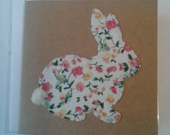 Original Textile Art Hand Made Easter Rabbit Greetings Card