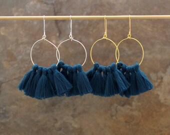 Tassel Hoop Earrings - Tassel Earrings - Turquoise Tassel Earrings - Fringe Earrings - White Tassel Earrings - Gold Hoop Earrings, Tassle