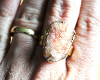 Adjustable Salmon color stone ring
