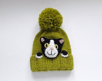 Kitty Hat, Knit Cat Hat, Cat Lovers Gift, Pom Pom Hat, Knit Beanie, Cat Applique, Kids Outfit, Winter Outfit, Cute Hat, Winter Accessories